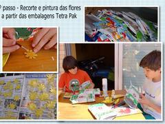 Recorte e pintura das flores a partir das embalagens Tetra Pak