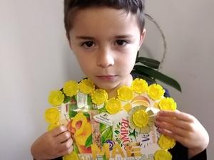 """""""Coração Amarelo""""- Miguel Ferreira 1º ano (Este trabalho foi realizado em casa, no período de quarentena e enviado)."""