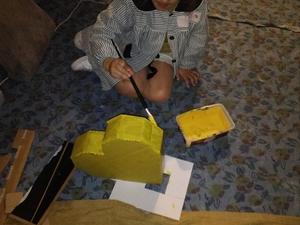 Início da pintura do coração amarelo