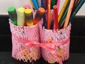 Transformação das embalagens em porta-lápis