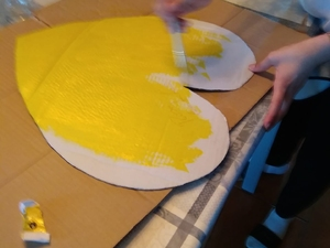 Coração Amarelo em processo de realização.