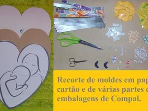 Recorte de moldes em papel e cartão e de vários partes das embalagens da compal