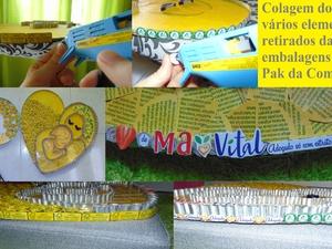 Colagem de vários elementos e símbolos retirados das embalagens tetra pak da Compal